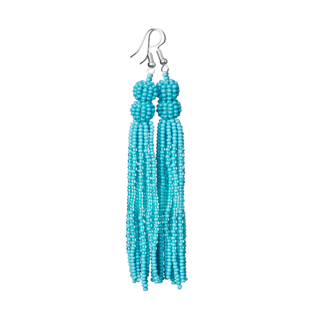 Ocean Blue Tassel Earrings - Sidney Byron