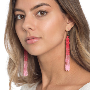 Coral and Pink Tassel Earrings - Sidney Byron