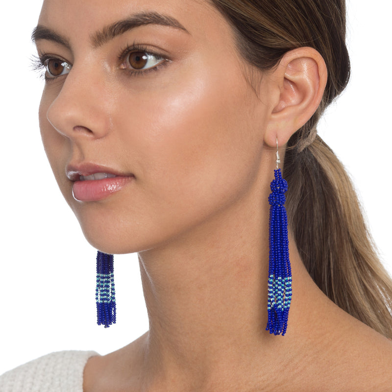 Deep Blue Tassel Earrings - Sidney Byron