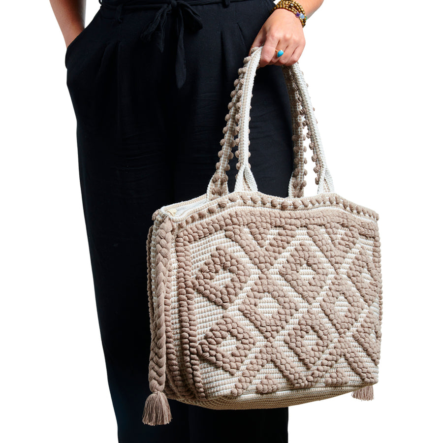 Large Taupe & White Wanderlust Tote - Sidney Byron