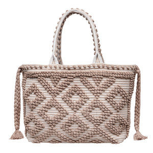 Large Taupe & White Wanderlust Tote