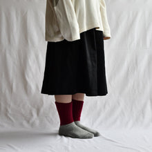 Load image into Gallery viewer, Nishiguchi Kutsushita - Oslo Mohair Wool Pile Socks - Navy/Cap + Mustard/Grey + Red/Grey