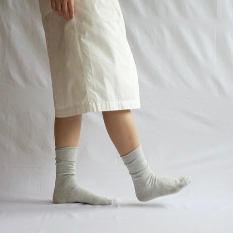 Nishiguchi Kutsushita - Praha Cashmere Cotton Sock - Available in Light Grey + Charcoal