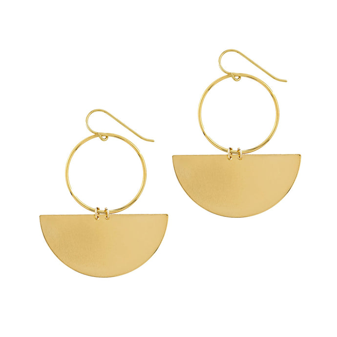 Petite Grand - Half Moon Earrings - Gold + SIlver