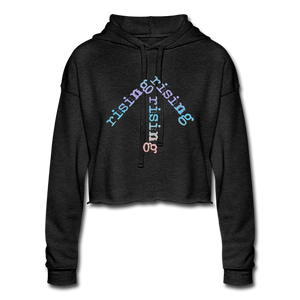 Rainbow Rising Arrow Cropped Hoodie - deep heather