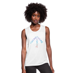 Rainbow Rising Arrow Women's Flowy Muscle Tank - white