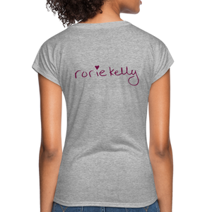 Miss Me With Your Misogyny V-Neck Women's Tee - Burgundy Lettering - heather gray