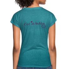 Load image into Gallery viewer, Miss Me With Your Misogyny V-Neck Women's Tee - Burgundy Lettering - heather turquoise