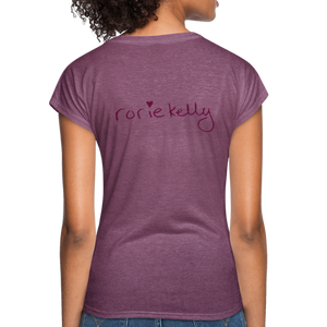 Miss Me With Your Misogyny V-Neck Women's Tee - Burgundy Lettering - heather plum