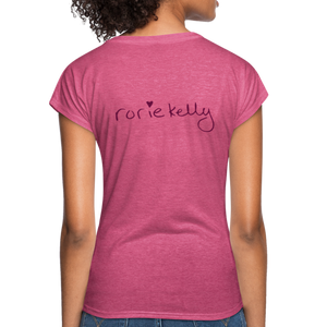 Miss Me With Your Misogyny V-Neck Women's Tee - Burgundy Lettering - heather raspberry