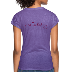 Miss Me With Your Misogyny V-Neck Women's Tee - Burgundy Lettering - purple heather