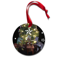 Load image into Gallery viewer, Dinosaur Holiday Ornament - Snowflakes & Starlight - white