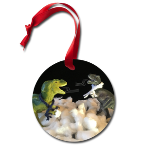 Dinosaur Holiday Ornament - Snowflakes & Starlight - white