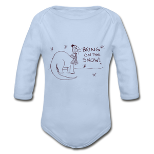 Organic Long Sleeve Baby Bodysuit - sky