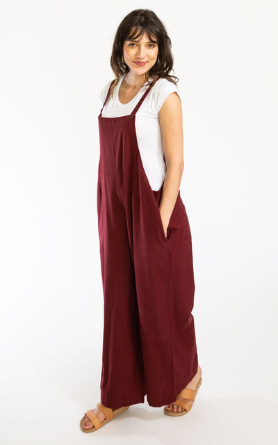 Surya Australia Ethical Cotton 'Juanita' Overalls Dungarees from Nepal - Berry