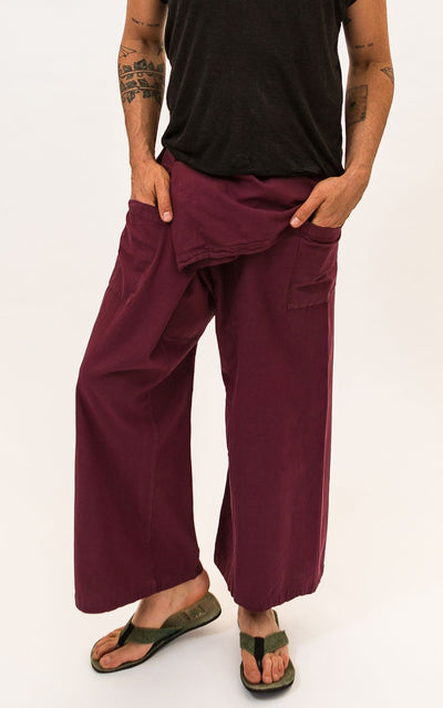 Surya Australia Eco Dyed Cotton Fisherman Pants - Wine