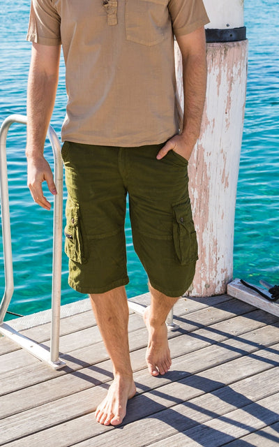 Surya Australia Ethical Cotton Cargo Shorts for men from Nepal