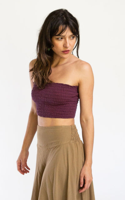 Surya Australia Cotton Strapless Tube Top - Wine