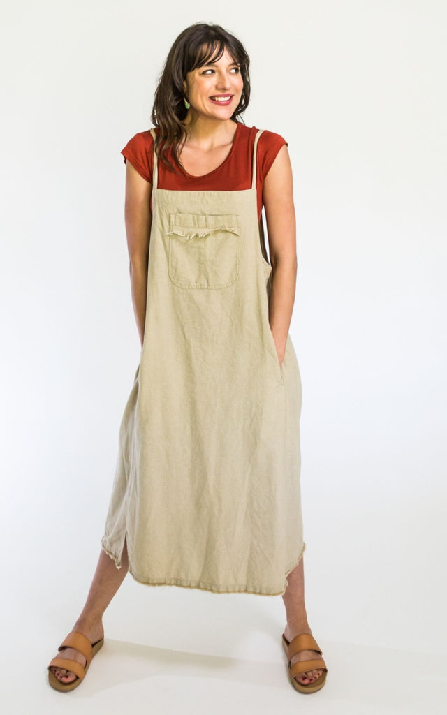 Surya Australia Ethical Cotton 'Sirena' Pinafore from Nepal - Oatmeal