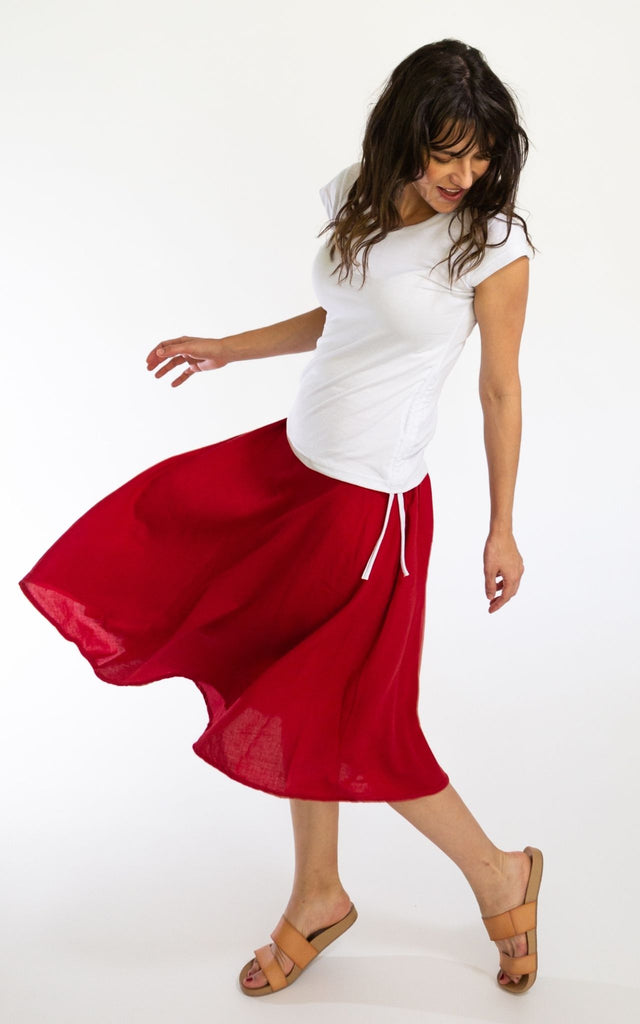 Surya Australia Ethical Cotton 'Rosa' Skirt from Nepal - Red