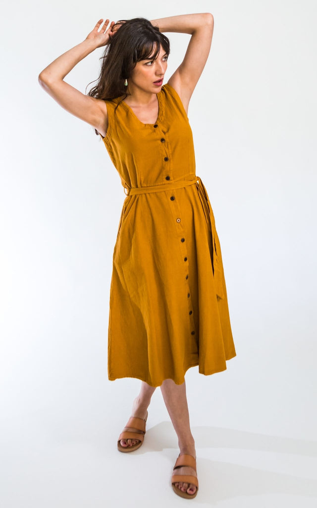 Surya Australia Ethical Cotton 'Valentina' Dress - Mustard