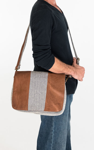 Surya Australia Buffalo Leather and Hemp Bag from Nepal for Men - Herringbone