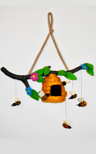 Felt Bee Hive from Nepal - Surya Australia Ethical Trade with Nepal
