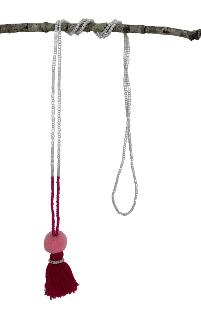 Surya Australia Cotton Tassel Necklaces from Nepal - Apricot + Green