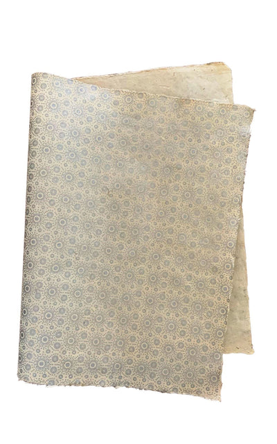 Surya Australia Fairtrade Treeless Lokta Paper Sheets from Nepal - white with silver flower printing