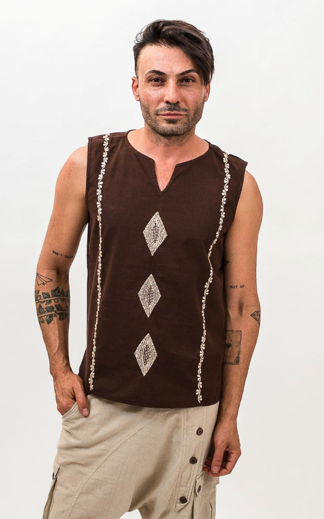 Surya Australia Mens Cotton Singlet Top - Chocolate