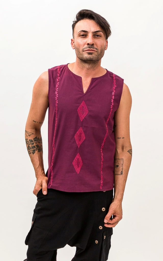 Surya Australia Mens Cotton Singlet Top - Berry