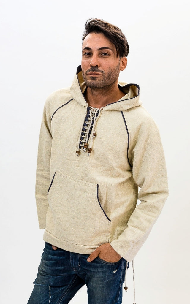 Surya Australia Thick Cotton Hoodie from Nepal - Natural