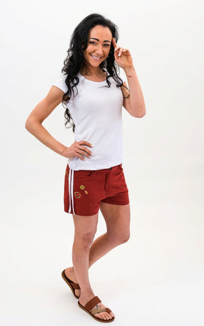 Surya Australia Cotton Embroidered Shorts -  Rust