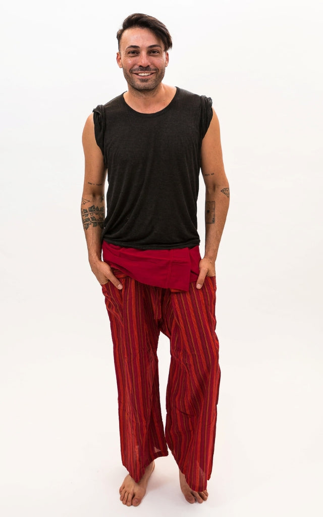 Fisherman Pants Striped Cotton - Red