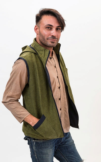 Surya Australia Thick Cotton Vest with Hood - Green