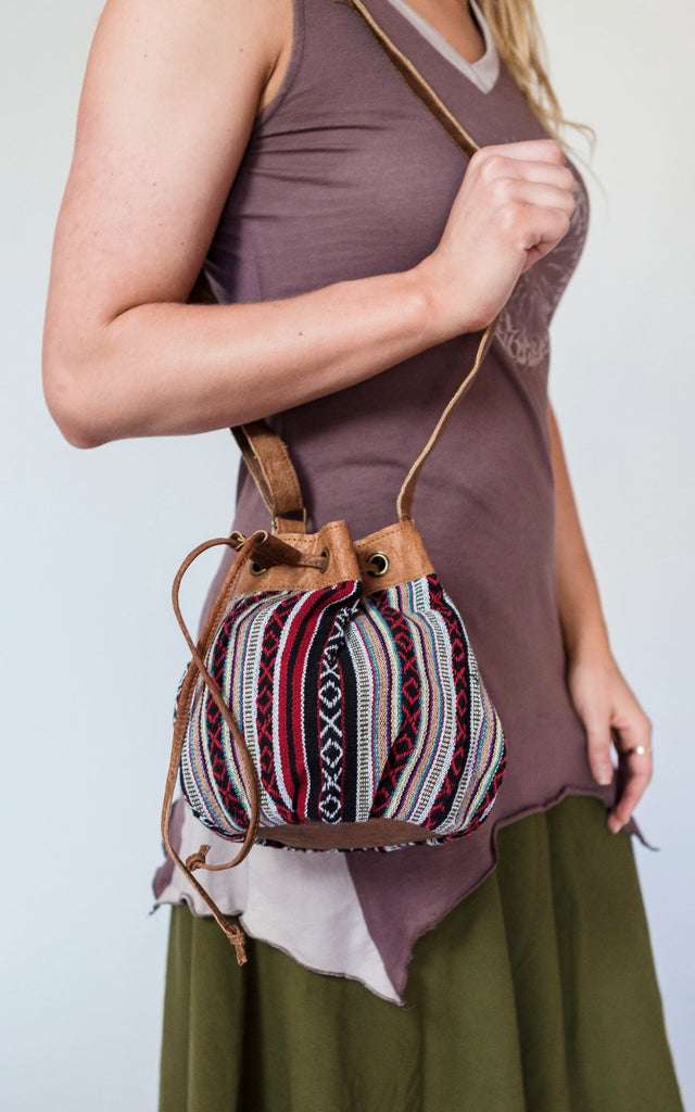 Surya Australia Buffalo Leather & Woven Cotton Bag - Cassis