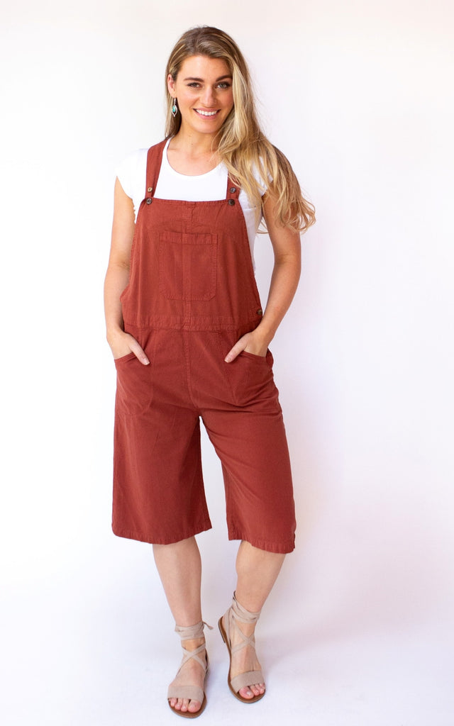 Surya Australia Cotton Hayley Three Quarter Overalls - Rust