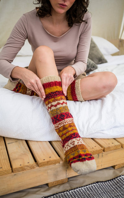 Surya Australia Merino Wool Socks from Nepal - Rust