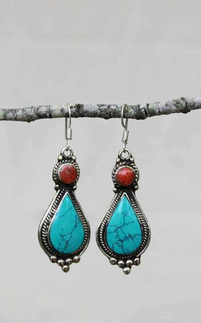 Surya Tibetan Earrings from Nepal - Hita