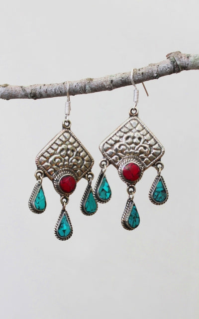 Surya Australia Tibetan Earrings from Nepal - Sadhana