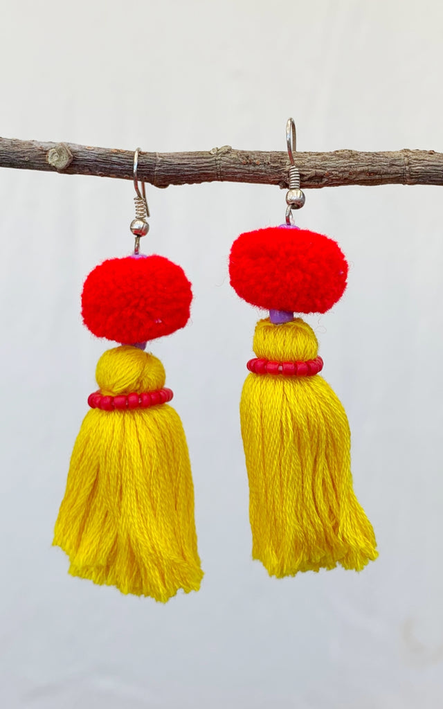 Surya Australia Cotton Tassel Earrings - Yellow + Orange