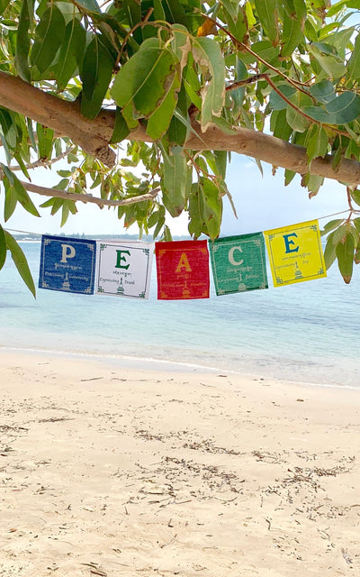Surya Australia Ethical Cotton 'Peace' Prayer Flags from Nepal