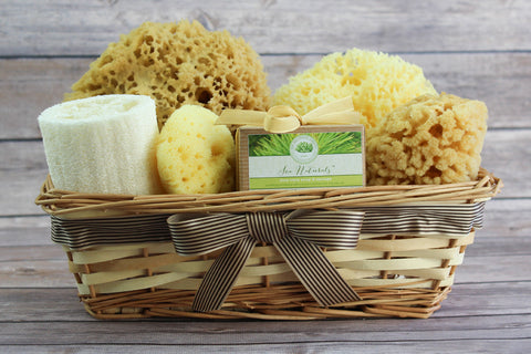Sea Spa™ Ultimate Bath & Body Gift Basket - With Aloe Vera Cedarwood Sponge Soap