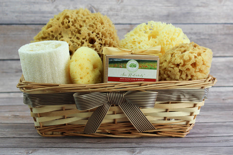Sea Spa™ Ultimate Bath & Body Gift Basket - With Shea Butter & Coastal Flowers Sponge Soap