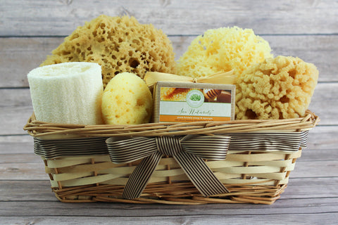 Sea Spa™ Ultimate Bath & Body Gift Basket - With Honey Vanilla Sea Sponge Soap