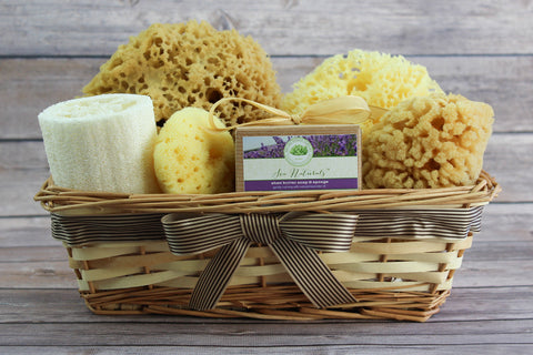 Sea Spa™ Ultimate Bath & Body Gift Basket - With Shea Butter & Lavender Sea Sponge Soap