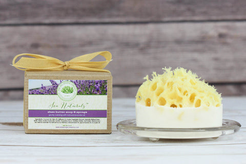 Sea Naturals™ Shea Butter Soap & Sea Sponge - Relaxing Lavender