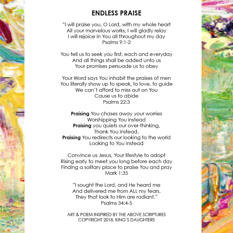 Endless Praise • Giclee IV-Giclee-King's Daughters Regal Lifestyle Collection