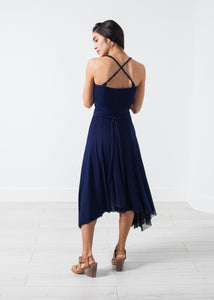 Ruched Party Dress in Navy