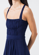 Load image into Gallery viewer, Ruched Party Dress in Navy